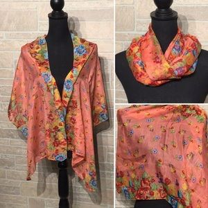 BOUTIQUE - flowery scarf/ wrap  cover up - NEW
